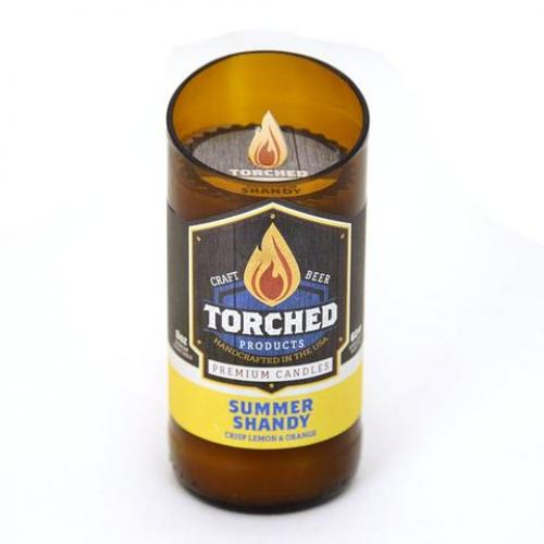 Torched Beer Bottle Candle - Summer Shandy 8oz