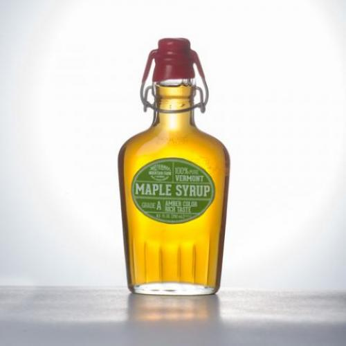 Maple Syrup Glass 8oz Bottle Clasp Top Squared