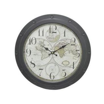 Wall Clock Face-map Frame-metal