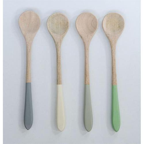 Kitchen Utensil Wood-mango Color-dipped Handle Pastels 4 Colors (Sold Separately)