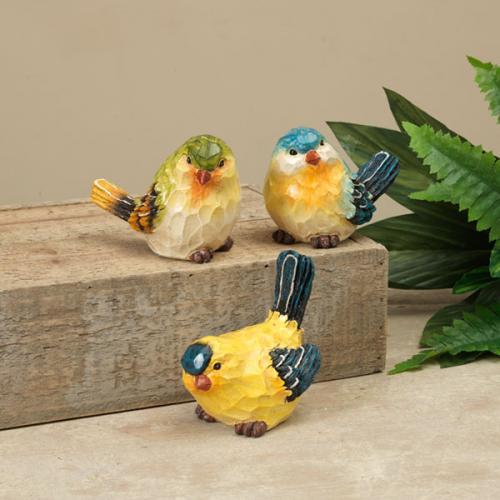 Outdoor Decorative Garden Statue Bird Resin 4in Chicadee Like 3 Assorted