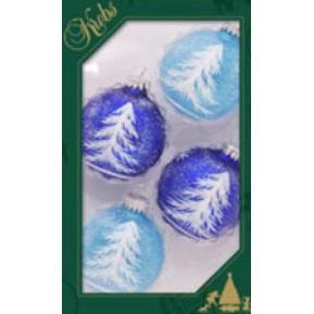 Glass Christmas Balls Aqua Translucent/ Royal Velvet Feathery Trees