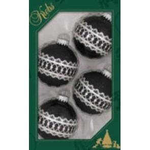 Glass Christmas Balls Ebony Shine Silver Fancy Band