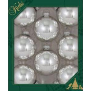 Glass Christmas Balls Bright Silver