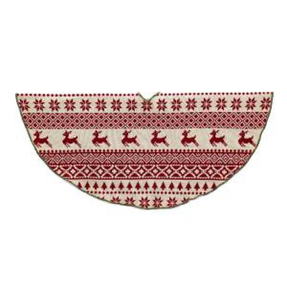 Tree Skirt Nordic Red Ivory Knit