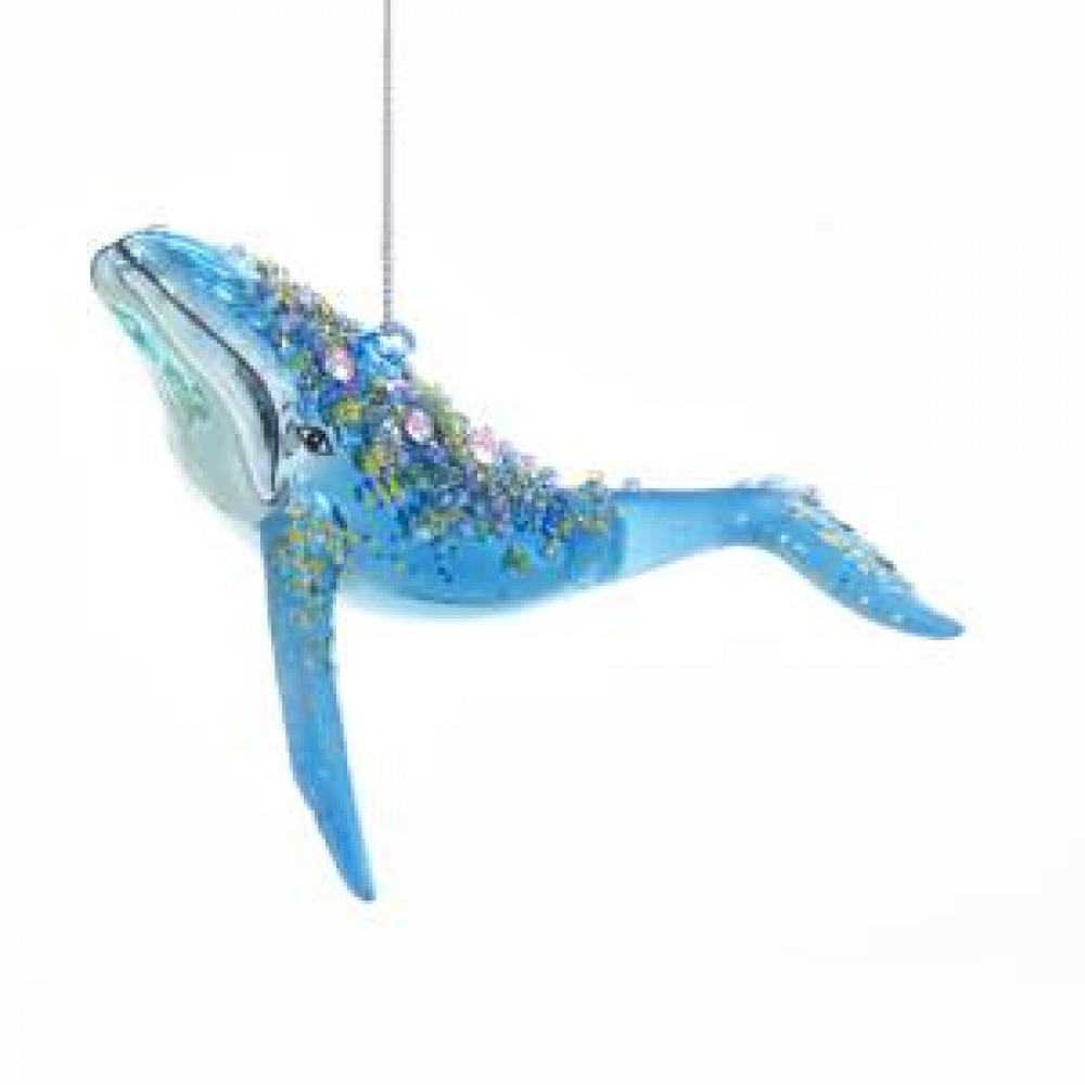 Ornament Whale Dark Blue With Glitter