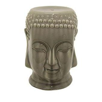 Outdoor Seating Garden Stool Ceramic Sculpture Head Gray 18�