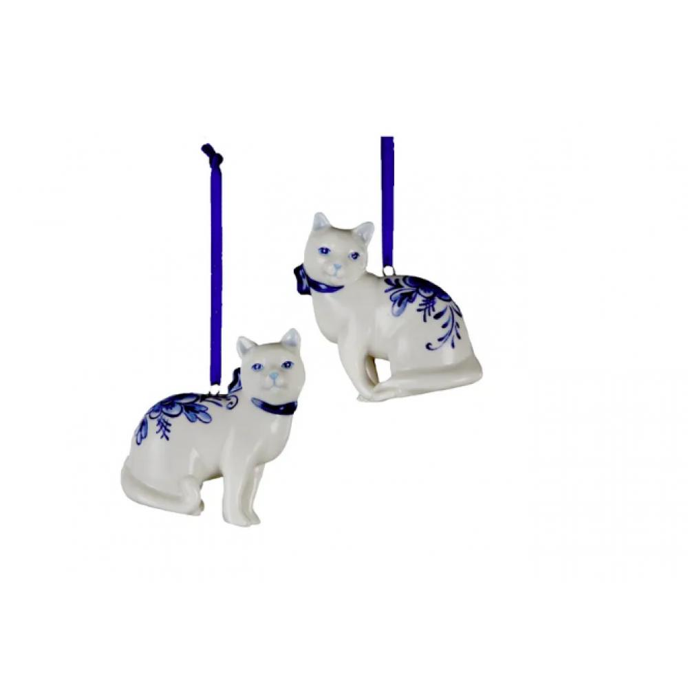 Ornament - Porcelain Deleft Blue Cat