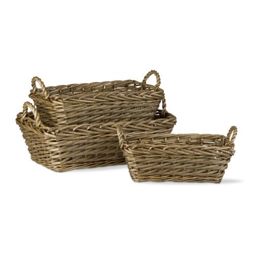 Basket Rectangular Willow Set 3 - Wheat