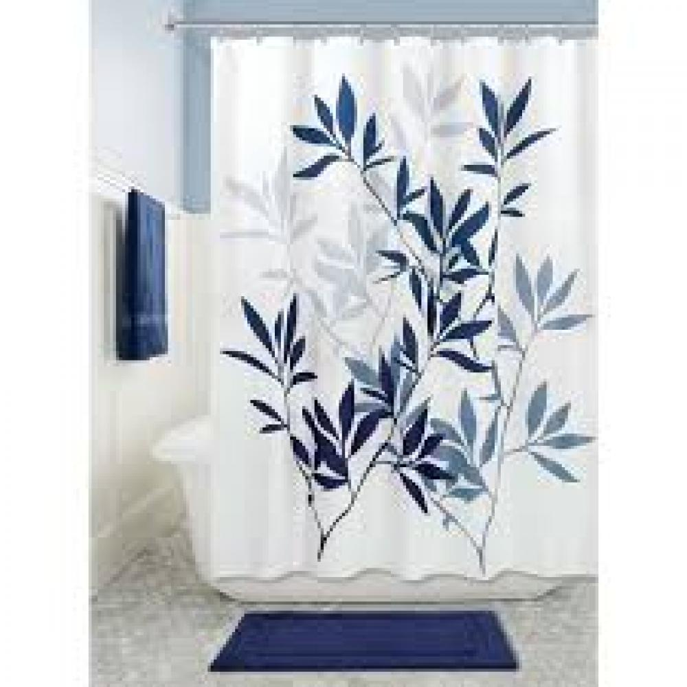 Shower Curtain - Leaves Navy and Slate Blue