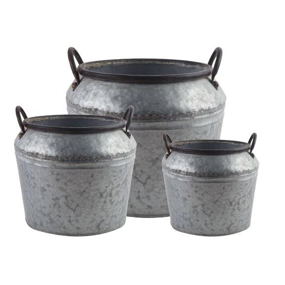 Flower Planter Pot Galvanized Buckets Set 3
