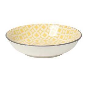 Dinnerware Stamped Pattern Dip Bowl Yellow Diamonds