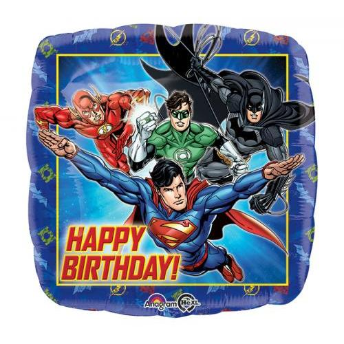 Balloon Shaped Justice League Happy Birthday 17in