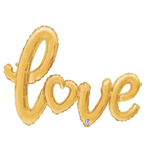 Balloon Shaped Love Gold Script 47in
