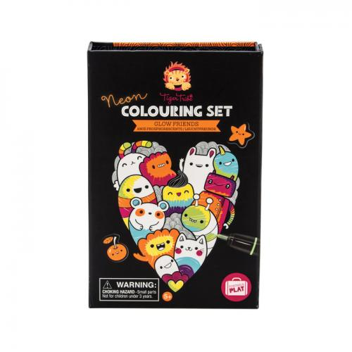 Colouring Set Neon Glow Friends ( Includes 36 Pages, 5 Sticker Sheets And 10 Markers )