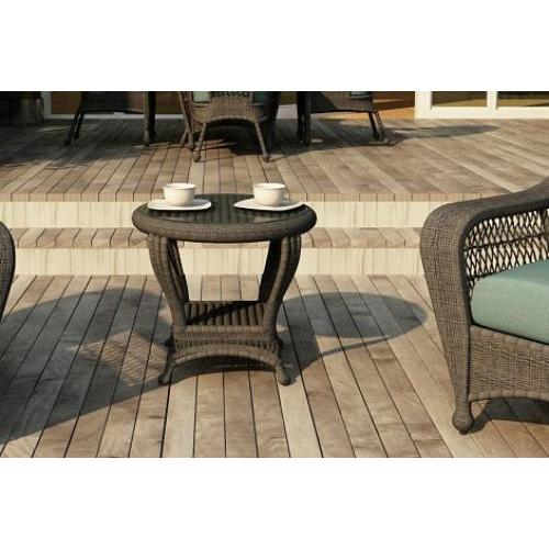 Charleston Outdoor Wicker End Table Round Willow