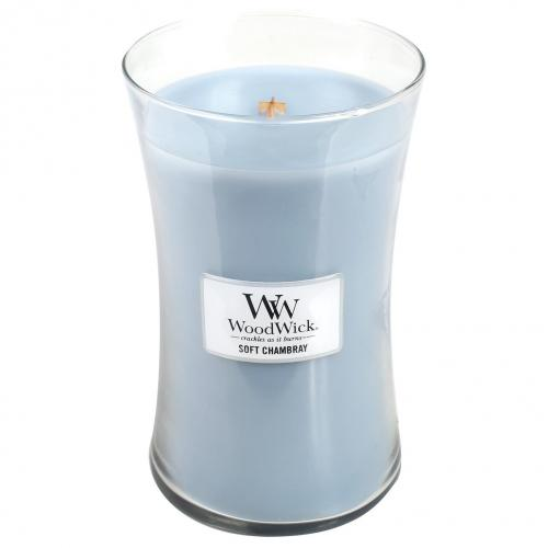 Woodwick Large Candle Jar Soft Chambray 22oz 130 Hour Burn Time
