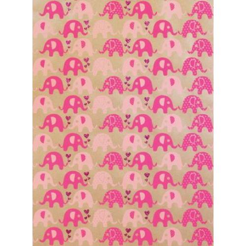 Mini Ellies Kraft Gift Wrap - Rose