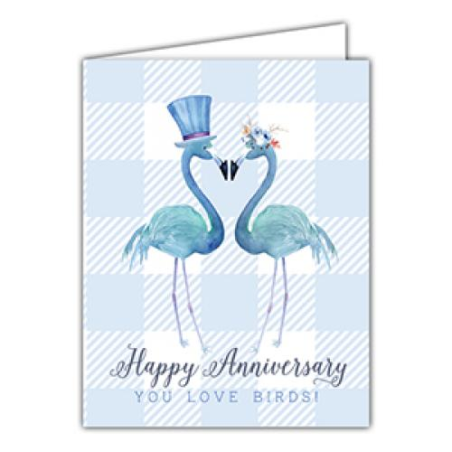 Anniversary - Blue Flamingos
