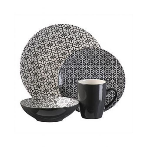Dinnerware Set Pattern-mosaic Navy & White 16 Piece Set (DP 6.99, SP 4.99, BW 5.99, MG 1.99)