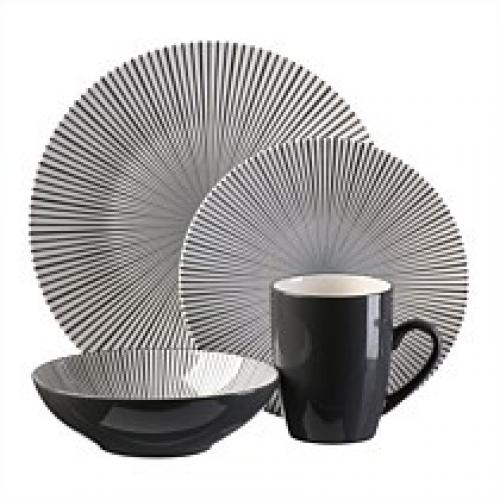 Dinnerware Set Pattern-starburst Black & White 16 Piece Set (DP 7.99, SP 3.99, BW 5.99, MG 1.99)