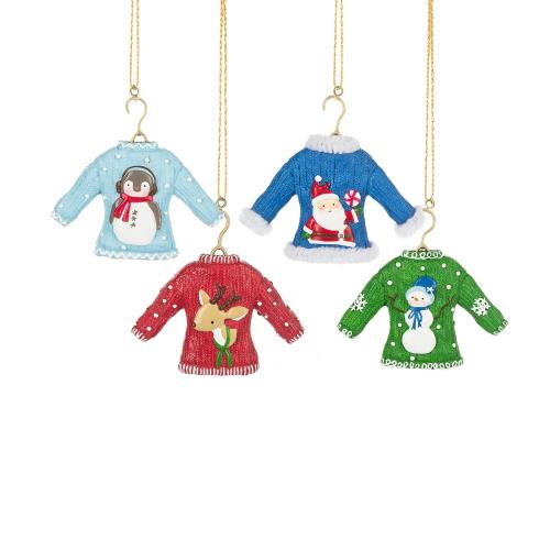 Ornament - Ugly Sweater - 4 Assorted