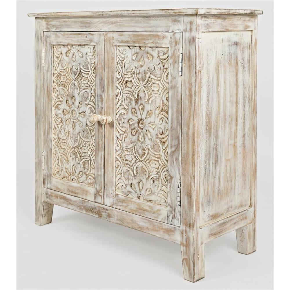Gloval Archive Hand Carved Accent Chest Solid Mango Wood Ivory
