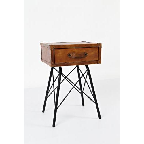 Global Archive Leather Accent Table