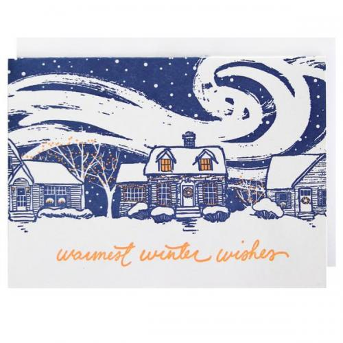 Boxed Card - Christmas - Snow Covered Home