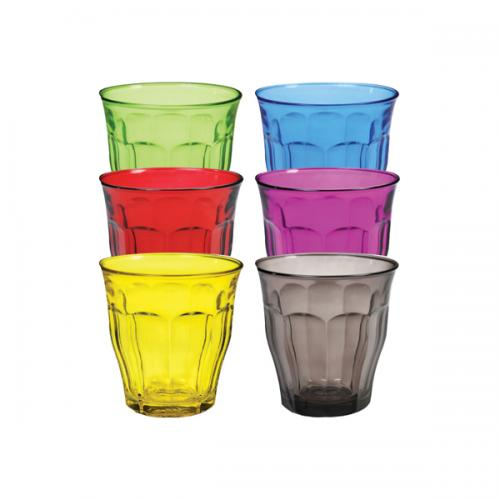 Drinkware Glass Tumbler Picardie Paneled Assorted Colors 8.75oz - 25cl S/6