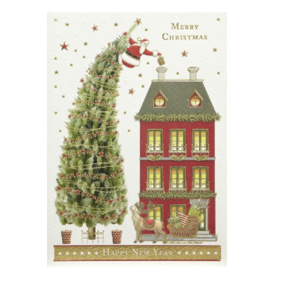 Boxed Card - Christmas - Santa On Tall Tree
