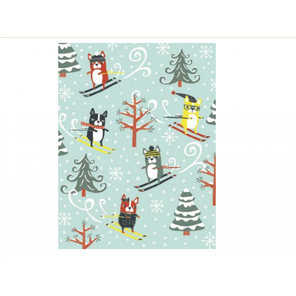 Boxed Card - Christmas - Skiing Dogs On Hill