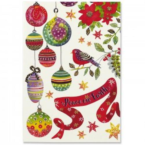 Christmas Boxed Card - Small - Birds And Ornaments