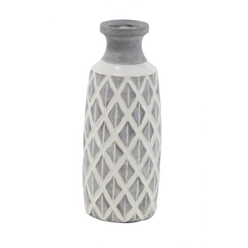Vase Ceramic Grey And Ivory 6in W X 16in H
