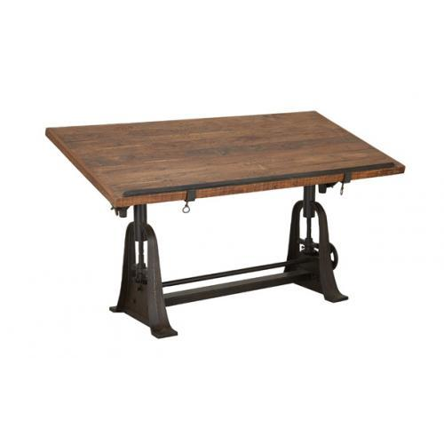 Alcatraz Collection Drafting Adjustable Dining Table Teak And Metal 62in W X 34 H