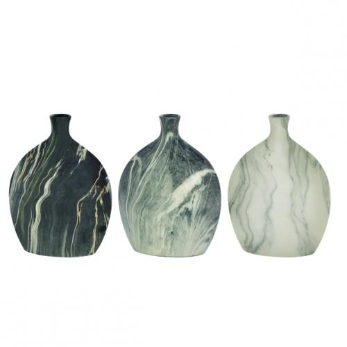 Vase Ceramic Marble 9in W X 13in H (assortment Sold Separately)