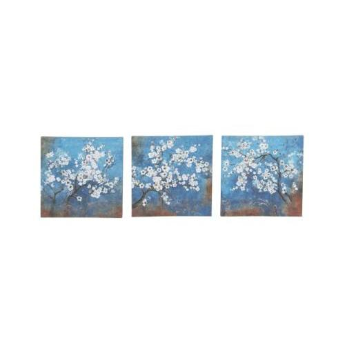 Canvas Wall Art Blue Floral 12in X 12in  (set Sold Separately)