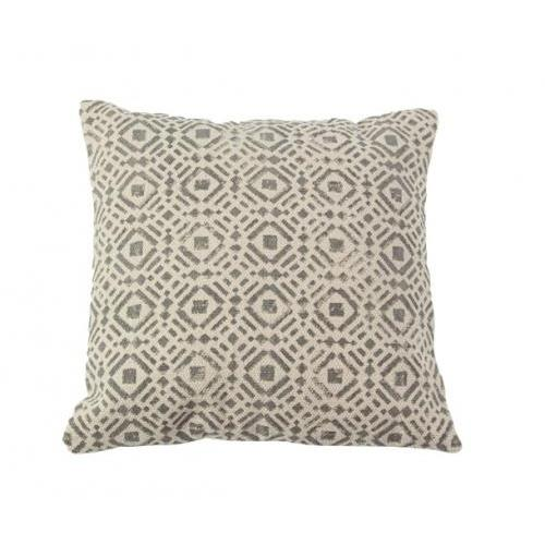 Pillow Cotton Fabric Grey Geometric 18in X 18in