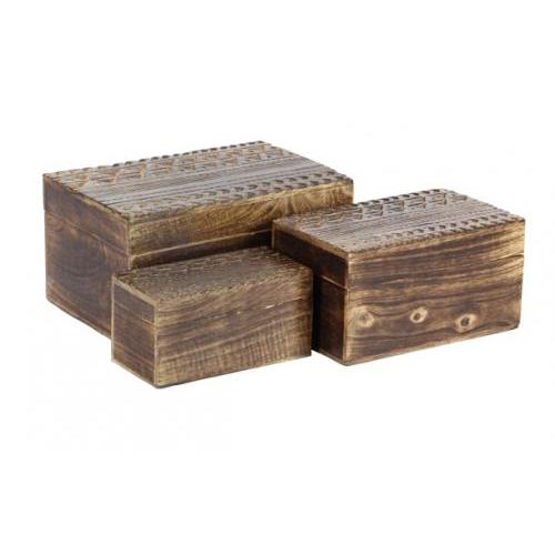 Box Wooden Carved Design Lg-24.99 M-21.99 Sm-16.99 (set Sold Separately)