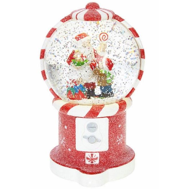 Water Globe - Santa In Gumball - Lighted