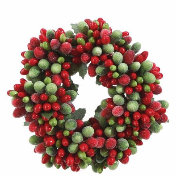 Candle Ring - Beaded Berry 4in ( Seasonal Item Call For Availability )
