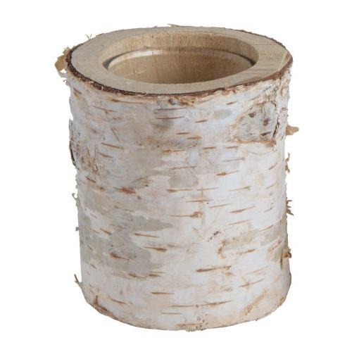 Seasonal Tealight Holder Birch Log Med