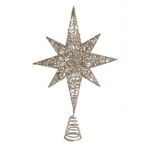 Seasonal Tree Topper - Metal With Glitter Star Antique Gold