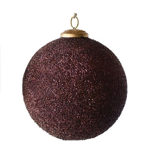 Seasonal Ornament Burgundy Ball With Glass Seed Beads 6in
