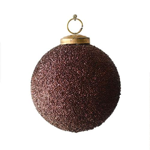 Seasonal Ornament Burgundy Ball With Glass Seed Beads 4in