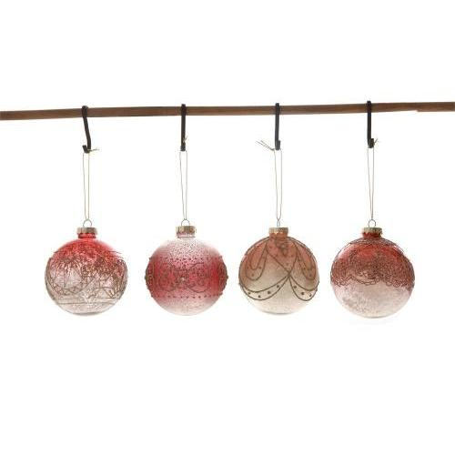 Seasonal  Ornament Glass Ball Ombre Pink With Gold Glitter