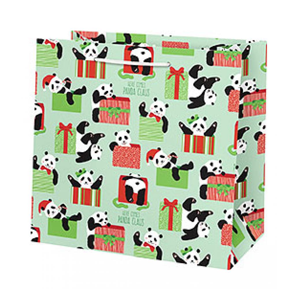 Holiday Gift Bag - Panda Claus - Medium