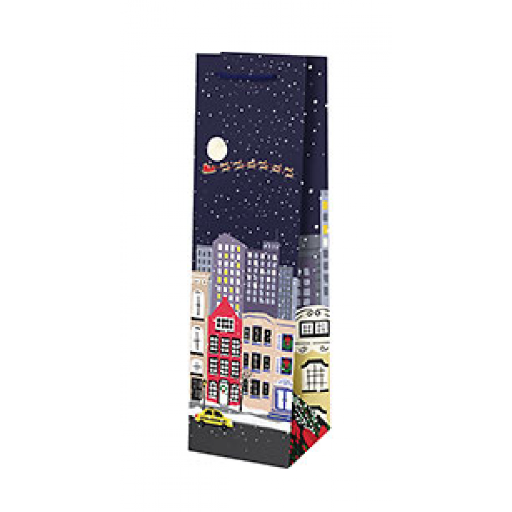 Holiday Gift Bag - Snow Covered Streets - Wine Bag