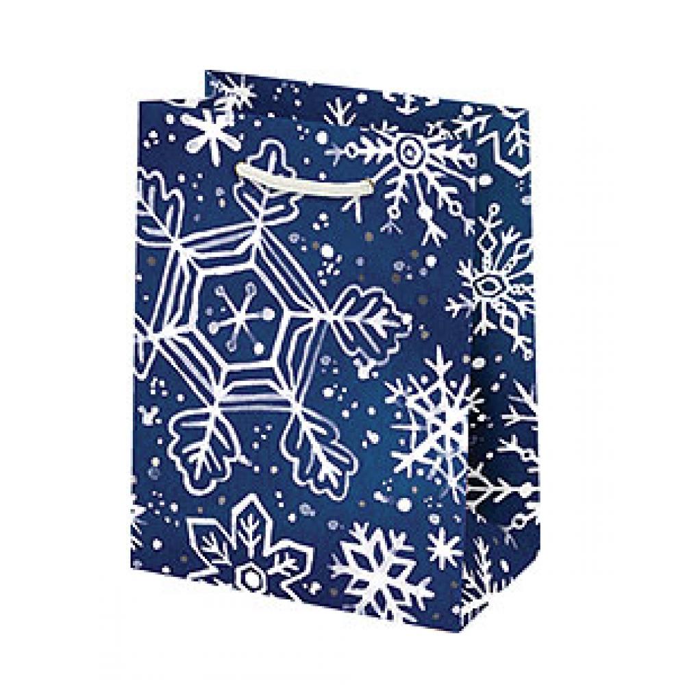 Holiday Gift Bag - Snowflake On Navy - Small