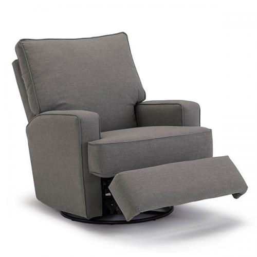 Kersey Swivel Glider Recliner In Charcoal Fabric